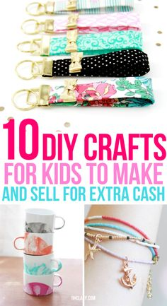 10 Easy Crafts For Kids To Make And Sell For Extra Money. I'm so IN LOVE with these AWESOME ideas for DIY projects and handmade items I can make from home and sell at craft fairs or on Etsy. I can make great money from home even as a teen! Diy Craft Projects, Crafts For Kids To Make, Easy Crafts For Kids, Easy Diy Crafts, Diy Crafts To Sell, Selling Crafts, Children Crafts, Simple Crafts, Kids Diy