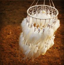 2015 New fashion originality Hot white Feather pearl Dreamcatcher Wind Chimes Indian Style Pendant Dream Catcher Gift(China (Mainland))