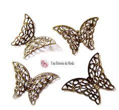 4 embellissements papillon en métal filigrane bronze ( boutons papillon filigrane ) : Embellissements par une-histoire-de-mode