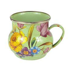 Flower Market Enamel Mug - Green from MacKenzie Childs - new line of lovely vintage-looking enamelware.