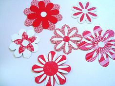 6 Red and White Flower Embellishments Layered 3D Flowers by Wcards, $3.00