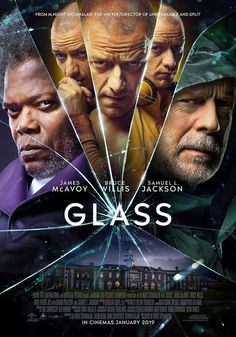 Samuel L. Jackson, Bruce Willis, and James McAvoy in Glass Action Movies, Hd Movies, Movies Online, Movie Tv, Lego Movie, Movie List, James Mcavoy, Bruce Willis, Alexandra Park