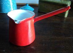 Vintage French Red Enamel Coffee Or Milk Jug by La Belle Epoque Deco on Gourmly