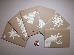 Christmas cards  pack of 6  papercut exlibrary by MagpieMoonshine, £12.00
