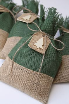 Burlap Gift Bags Christmas Tree Tags Set of Four Shabby image 1 Quilted Christmas Gifts, Christmas Treat Bags, Fabric Christmas Trees, Burlap Christmas Tree, Christmas Tree With Gifts, Shabby Chic Christmas, Christmas Gift Wrapping, Rustic Christmas, Christmas Wreaths