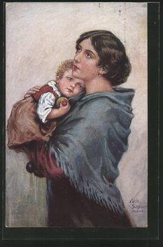 Künstler-AK Willi Scheuermann: Mutter mit Kind auf dem Arm 0