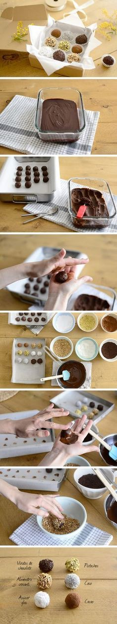 Chocolate truffles - Trufas de chocolate                              …                                                                                                                                                     Más