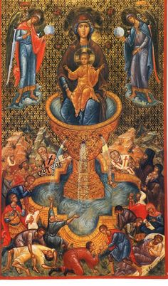 """Christ is risen! The Most-holy Theotokos, the """"Life-giving Spring"""", who bears Christ, commemorated the Friday of Bri. Christ Is Risen, Jesus Christ, Mother Mary, Mother And Child, Middle Age Fashion, Byzantine Art, Blessed Virgin Mary, Religious Icons, Orthodox Icons"""