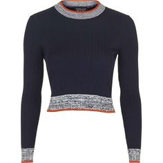 TOPSHOP Marl Trim Rib Crop Jumper ($45) ❤ liked on Polyvore featuring tops, sweaters, navy blue, navy blue striped sweater, navy crop top, navy blue cropped sweater, stripe crop top and navy sweater