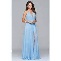 Faviana 7747 Evening Dress Long  Sleeveless (400 AUD) ❤ liked on Polyvore featuring dresses, gowns, cloud blue, formal dresses, prom gowns, prom dresses, long formal dresses, halter evening gowns and blue evening gown