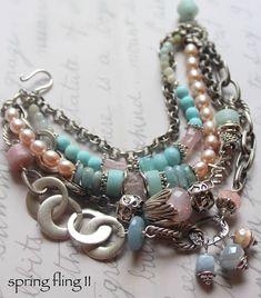 bracelet aquamarine bracelet pink quartz bracelet opal