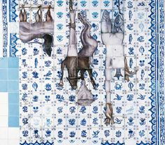Adriana Varejão, Proposta para uma catequese azulejaria de cozinha, 1995, óleo sobre painel de gesso, obra em exposição no MAM-SP
