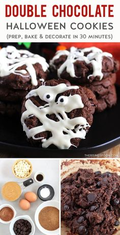 Need a quick & easy cookie recipe to celebrate Halloween? Fix these double chocolate peanut butter cookies that are made with simple pantry ingredients and decorated with a festive & cute Mummy theme. You can make these in only 30 minutes (no rolling or chilling required) and they're perfect for both little ones & adults. Decorating the tops with melted white chocolate & mini candy eyes only takes a few minutes, so this would be a fun Halloween activity for kids and teens! Easy Cookie Recipes, Delicious Cookie Recipes, Vegan Recipes Easy, Real Food Recipes, Cooking Recipes, Halloween Activities For Kids, Halloween Fun, Halloween Cookies, Summer Desserts