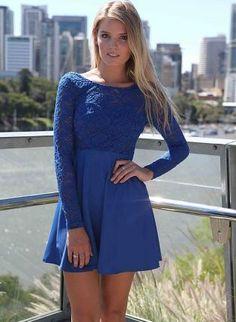Blue Cocktail Dress - Blue Long Sleeve Skater Dress