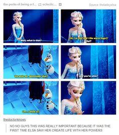 Elsa: Wait, what is that? Olaf: Hi, I'm Olaf and I like warm hugs. Olaf: You built me. Elsa: And you're alive? Disney Love, Disney Magic, Disney Frozen, Disney Stuff, Elsa Frozen, Disney And Dreamworks, Disney Pixar, Walt Disney, Ella Enchanted