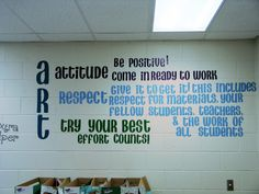 art room rules - I like how they command more attention directly on the wall vs a poster Art Classroom Posters, Art Room Posters, Classroom Signs, Classroom Displays, School Classroom, Classroom Organization, Science Classroom, Classroom Decor, Art Room Rules