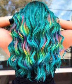- All For Hair Color Trending Vivid Hair Color, Cute Hair Colors, Pretty Hair Color, Beautiful Hair Color, Hair Dye Colors, Turquoise Hair, Teal Hair, Ombre Hair, Turquoise Color
