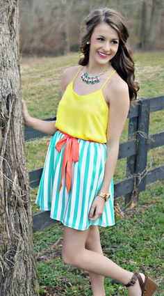 """""""Girl Next Door"""" Striped Skirt, $31.99 with Free Shipping!  http://www.shopadorabelles.com/collections/dresses/products/girl-next-door-striped-skirt"""