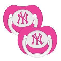 2 Pack Pink Pacifiers - New York Yankees