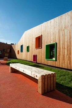 New Building for Nursery and Kindergarten in Zaldibar, Spain | Bench seats + colourful turf