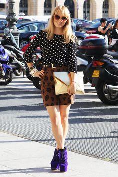 shirt + skirt are cute.