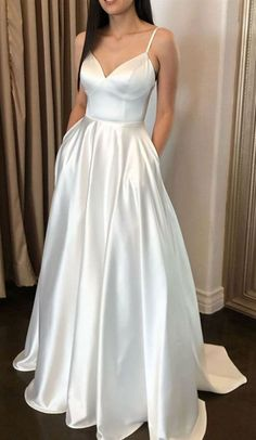 simple ivory long wedding dresses, cheap a line bridal gowns with pockets, uniqu. - simple ivory long wedding dresses, cheap a line bridal gowns with pockets, uniqu… Source by besnyhorbe - Ivory Prom Dresses, Princess Prom Dresses, Prom Dresses For Teens, Elegant Prom Dresses, Sweet 16 Dresses, A Line Prom Dresses, Beautiful Prom Dresses, Cheap Prom Dresses, Evening Dresses