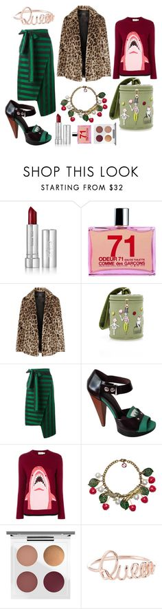 """""""animalier"""" by caterinabi ❤ liked on Polyvore featuring Zelens, Comme des Garçons, Theory, Olympia Le-Tan, Rochas, Marni, Coach, Gucci, MAC Cosmetics and striped"""