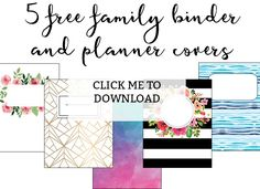 These printable binder covers are the perfect way to update your boring family binder. These cute binder covers would work great for planners or school notebooks as well! Happy Planner Cover, Free Planner, Printable Planner, Planner Covers, Planner Stickers, Free Printable Stickers, Free Printables, Printable Binder Covers Free, Printable Recipe