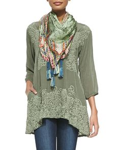 -5CGE Johnny Was Collection Adina V-Neck Embroidered Blouse & Jimmy Printed Silk Scarf, Women's