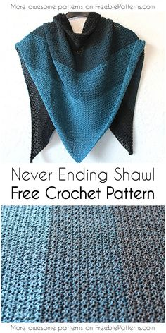 Easy and Cozy Crochet Shawl Patterns You Should Try In Never Ending Shawl Free Crochet Pattern Prayer Shawl Crochet Pattern, Prayer Shawl Patterns, Poncho Au Crochet, Crochet Prayer Shawls, Bonnet Crochet, Crochet Shawls And Wraps, Crochet Beanie, Crochet Scarves, Crochet Patterns