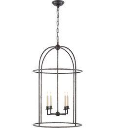 Visual Comfort E.F. Chapman Desmond 4 Light 21-inch Foyer Lantern in Aged Iron, Cage CHC2160AI photo