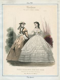 Casey Fashion Plates Detail | Los Angeles Public Library: Title: The Queen Date: Tuesday, July 1, 1862 Item ID: v. 42, plate 96