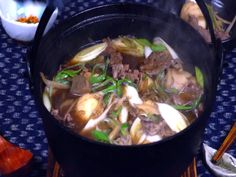 Imoni soup is a type of taro and meat soup eaten traditionally in the autumn in the Tōhoku region of Japan. Japanese Soup, Allrecipes, Asian Recipes, Beef, Meals, Cooking, Autumn, Type, Food