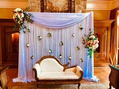 Simple Stage Decorations, Engagement Stage Decoration, Wedding Hall Decorations, Desi Wedding Decor, Marriage Decoration, Wedding Mandap, Wedding Ceremony Backdrop, Wedding Stage Design, Background Decoration