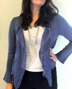 Ravelry: Rhapsody Lace Cardigan pattern by City Farmhouse Studio Lace Cardigan, Cardigan Pattern, Sweater Knitting Patterns, Knit Patterns, Knitting Designs, Knit Lace, Lace Knitting, Creative Knitting, Simple Knitting