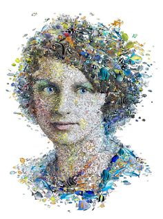Rachel Carson for Womankind Australia. Mosaic portrait of the American marine biologist and conservationist Rachel Carson made out of sea life. Created by Charis Tsevis for the cover of Womankind magazine in Australia.