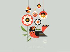 Season's Greetings designed by Brad Cuzen. Connect with them on Dribbble; the global community for designers and creative professionals. Winter Illustration, Bird Illustration, Graphic Design Illustration, Christmas Illustration Design, Sketch Manga, Affinity Designer, Guache, Motif Floral, Geometric Art