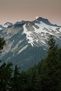 Full Moon Setting Over North Cascades - Washington State