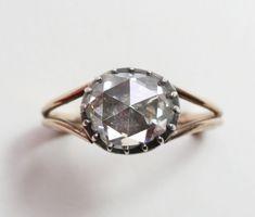 18 carat gold rose-cut diamond ring circa 1800
