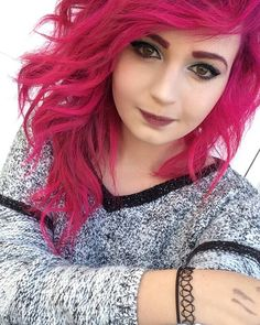 PINK HAIR Used Manic Panic Hot Hot Pink.  Pre lightened to a level 10 Curled with a marcel iron and slept on