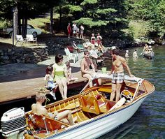 Wood ski boat at the Wide Waters Resort dock - 1960's