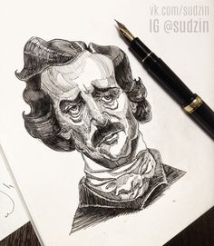 #ink #inktober #mermaid #тушьперо #graphic #графика #platinumpen #sketch #скетч #sketchbook #рисуноктушью #b&w #blackandwhite #эскиз #art #portrait #портрет #EdgarAllanPoe#Poe #По