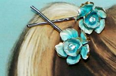 Vintage Austria Turquoise Enamel Bobby Pins Dreamy by WillowBloom, $34.50