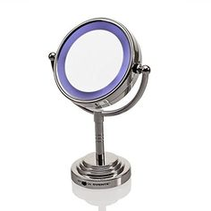 Ovente MLT28C LED Battery-Operated Tabletop Vanity Mirror, 1X/5X Magnification, #Ovente