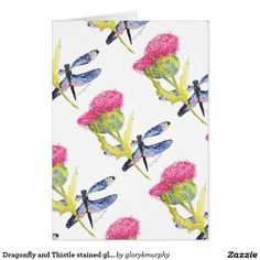 Dragonfly and Thistle stained glass effect Card