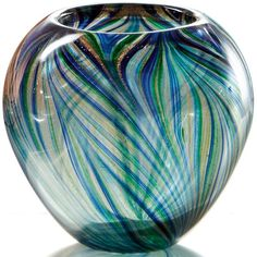 "Peacock Art Glass 7"" Vase By Lenox"