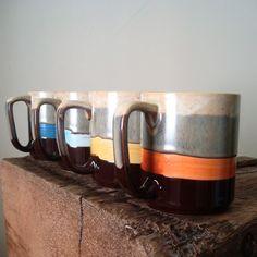 Japanese striped ceramic mugs