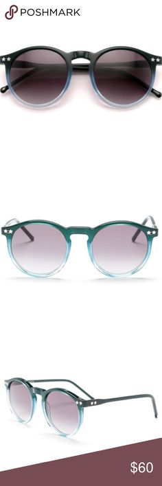 NWT Wildfox Ombré Steff Sunglasses NEW! With Tags. Gorgeous Wildfox Steff Blue Green Ombré Sunglasses in High Noon. The Steff is the girly and glam Wildfox version of the traditional panto: a circular frame with a high hinge. Delicate star detailing. Handmade with Italian acetate. CR39 optical grade lenses offering UV A and B protection. 3 barrel French comotec hinge.  Eye width: 50mm  Bridge Width: 14mm  Temple length: 135mm. Color is like first pic. Bottom right pic is actress January…