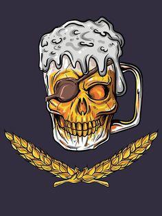 "Perfect Boyfriend 596023331918748255 - ""Pirate Skull Beer Mug Malt Men Women Drinking Gift"" T-shirt for craft beer lovers like husband and boyfriend that are pirate skull fans and drinks alcohol and malt beer. Graffiti Tattoo, Bruder Tattoo, Tattoo Geek, Malt Beer, Beer Art, Best Tattoos For Women, Skull Illustration, Beer Lovers, Skull Art"