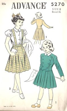 """1940s Girls Dress Vintage Sewing PatterN, McCall 7279 Girls Size 8 chest 26"""" uncut"""